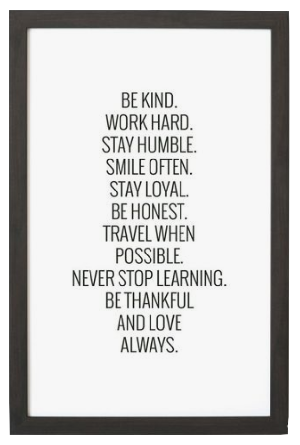 Black Framed Be Kind Wall Art