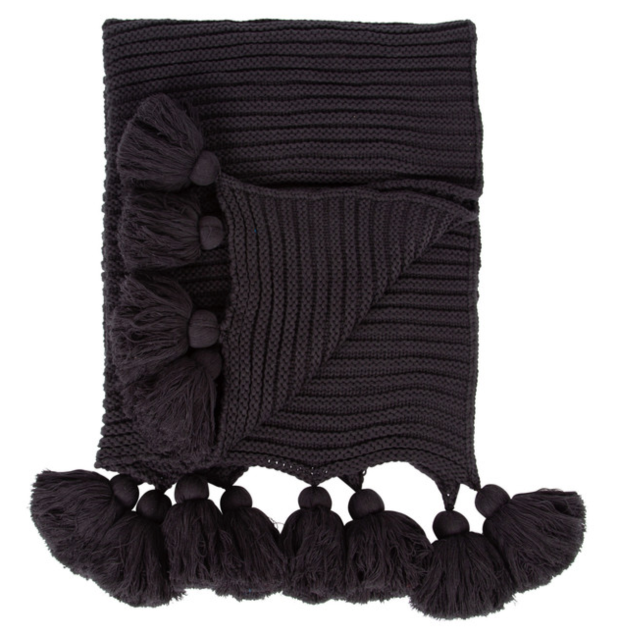 Black throw with tassels