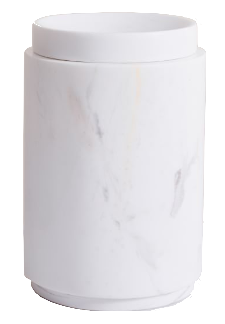 West Elm White Marbled Tall Canister