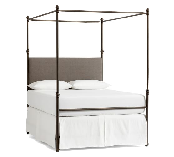 Metal Canopy Bed with Grey Headboard