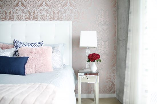 A Downtown Nashville, Tennessee Interior Design Condo with Pink Wallpaper