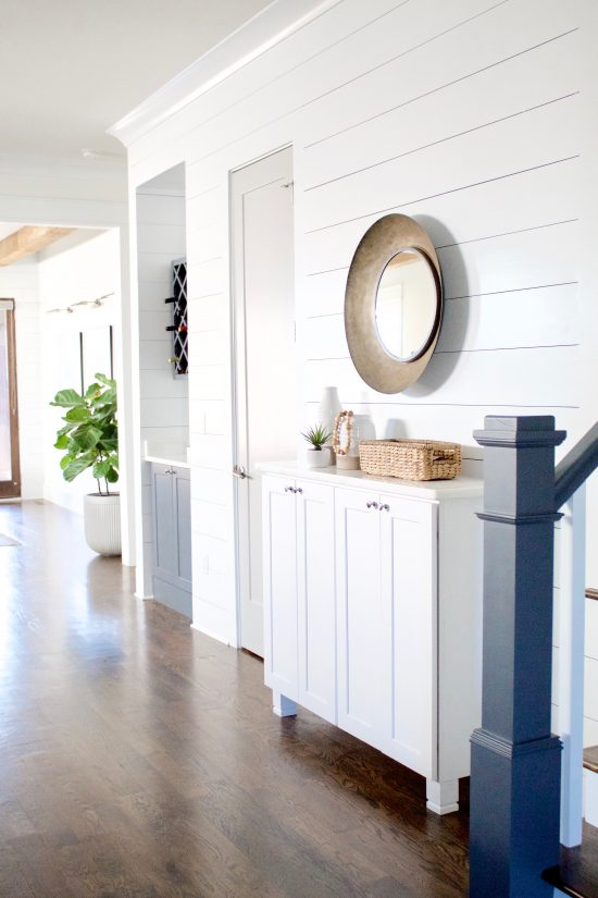 A Green Hills, Tennessee Interior Design New Home White Shiplap Accent Wall