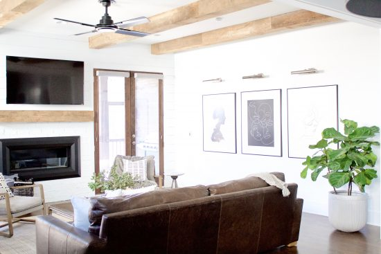 A Green Hills, Tennessee Interior Design New Home with Exposed Wood Beams