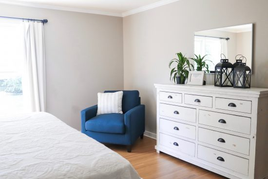 A Sylvan Park, Tennessee Interior Design Home Guest Room with White Dresser