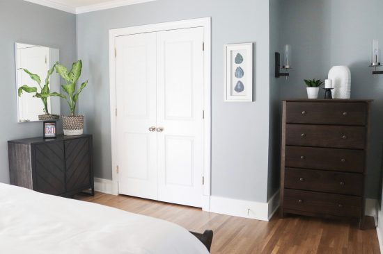 A Sylvan Park, Tennessee Interior Design Home Master Bedroom with French Closet Doors