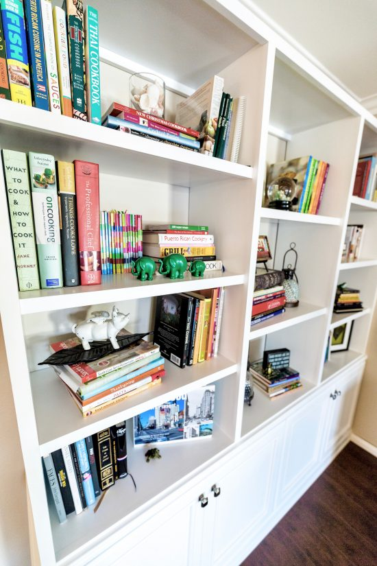 A Toluca Lake, California Interior Design Condo White Built-In Bookcase