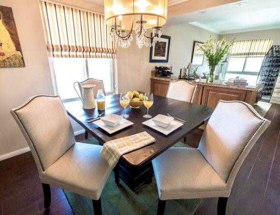 A Toluca Lake, California Interior Design Condo with Square Dining Table