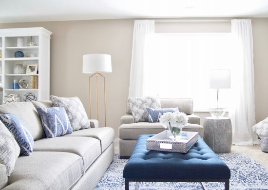 An Antioch, Tennessee Interior Design Bonus Room with Navy Accents