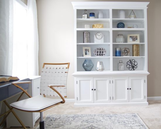 An Antioch, Tennessee Interior Design Home Office with White Bookcase