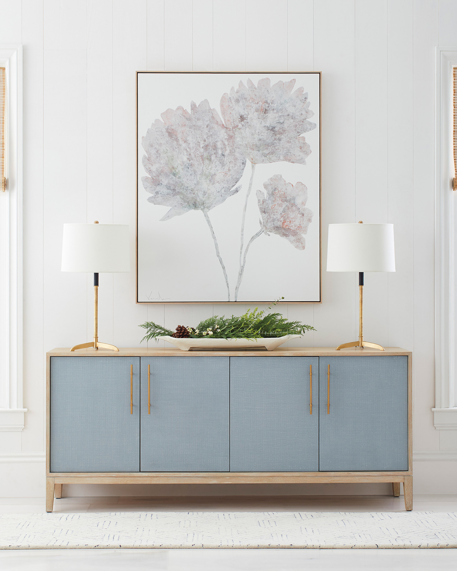 Serena and Lily light blue and wood Wooster storage console