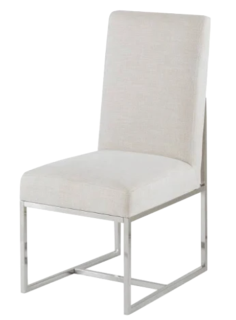Upholstered and Polished Chrome Dining Chair