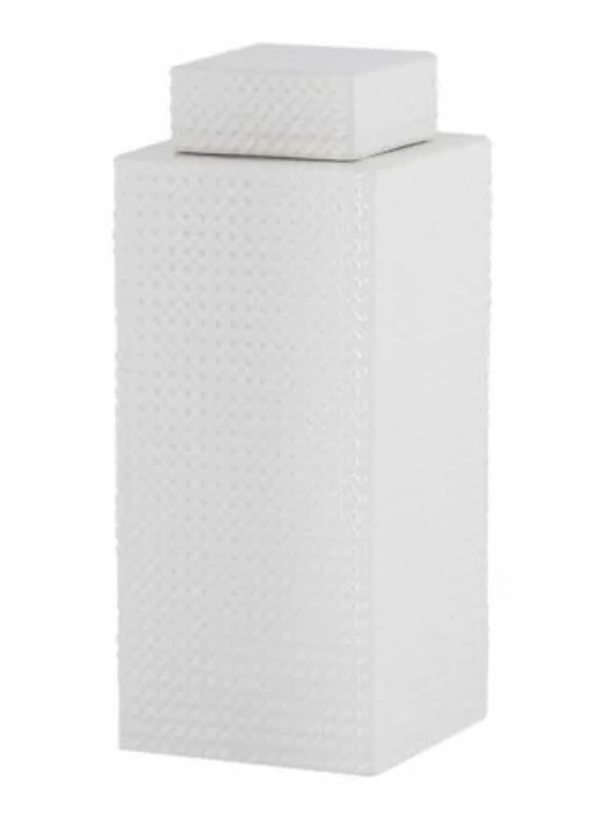 White Decorative Storage Jar with Lid
