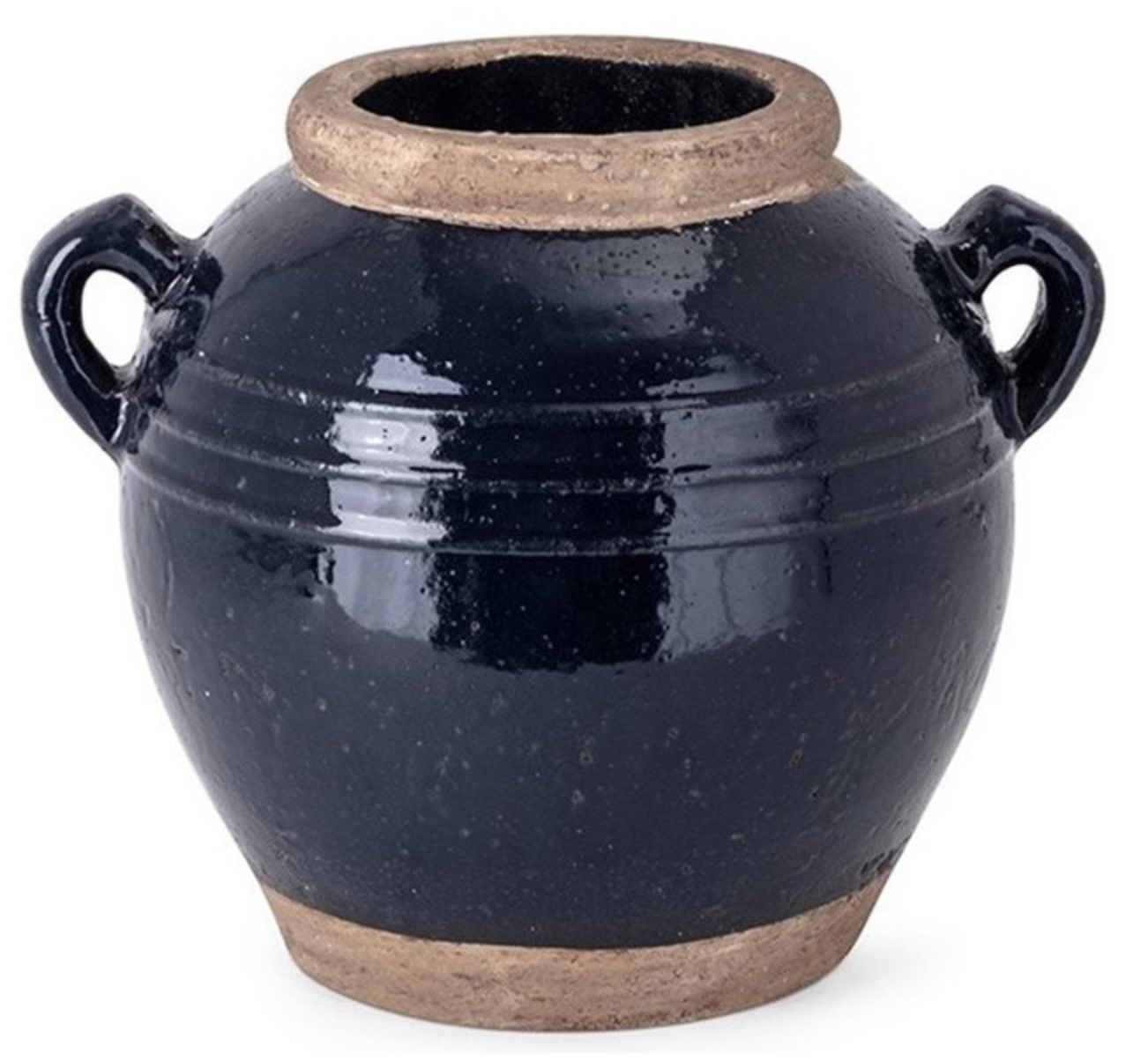 Navy Stone Urn with Handles