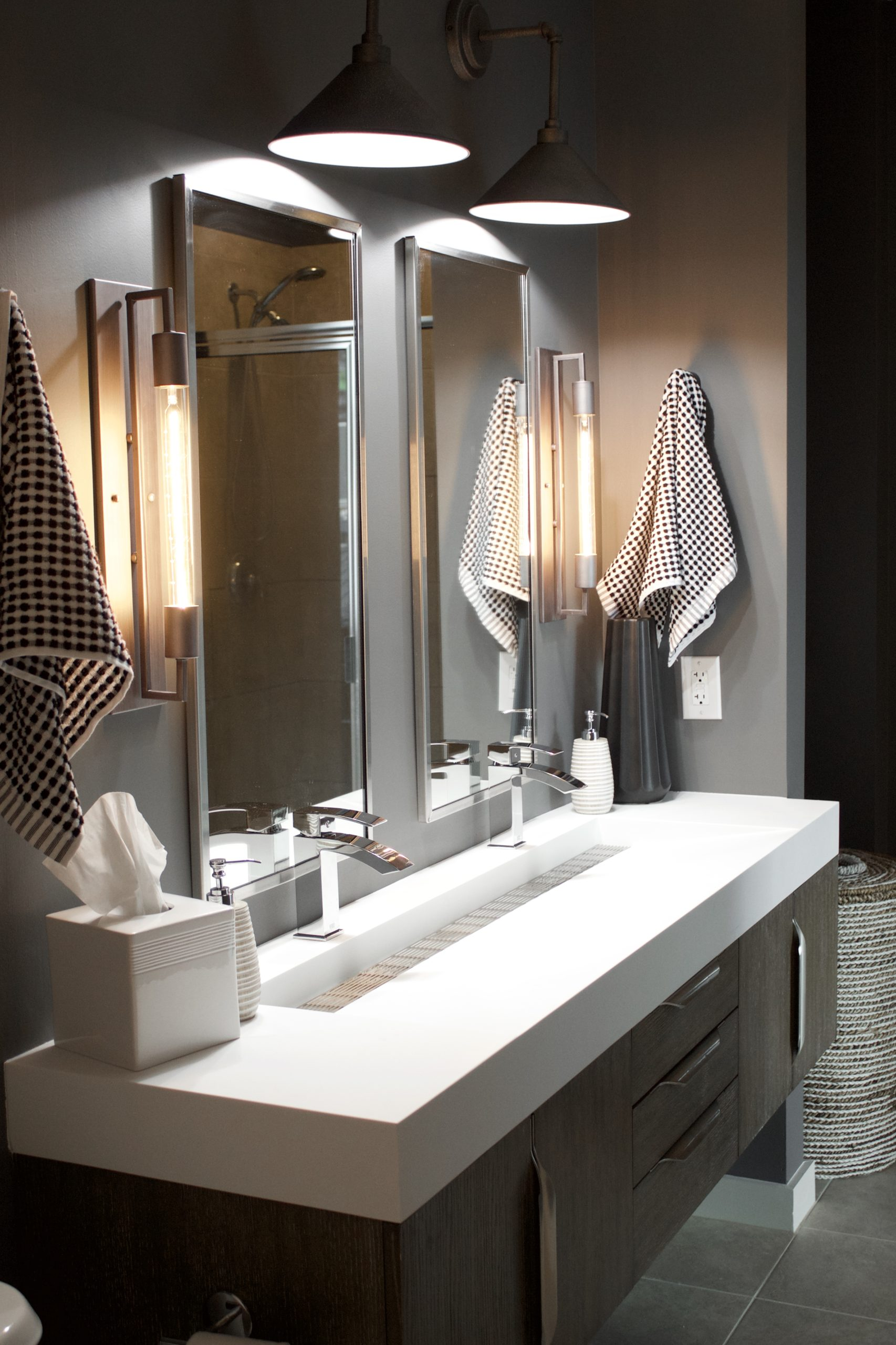 A modern, masculine downtown Nashville master bath design.