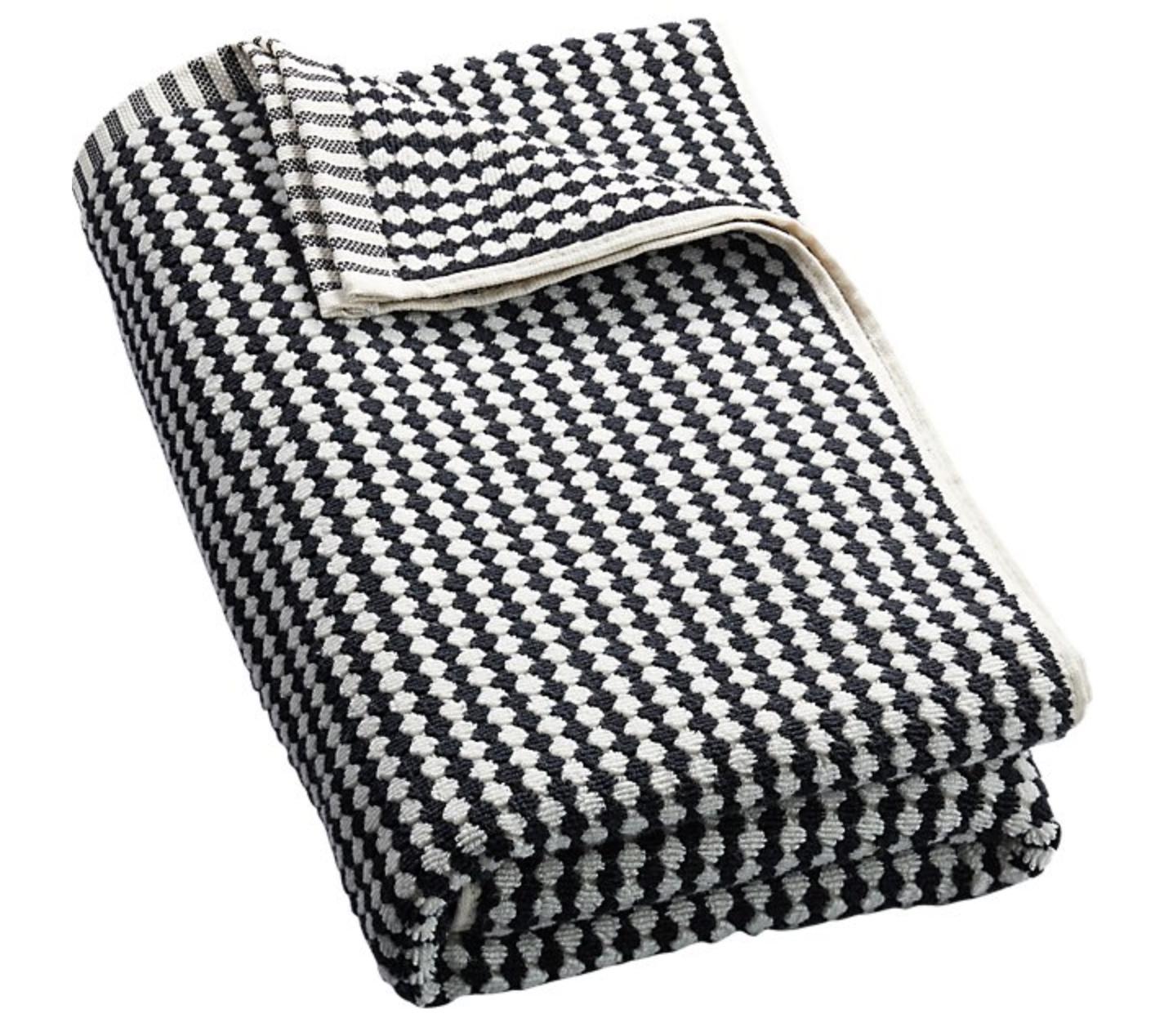 CB2 LENA BLACK AND WHITE HAND TOWEL