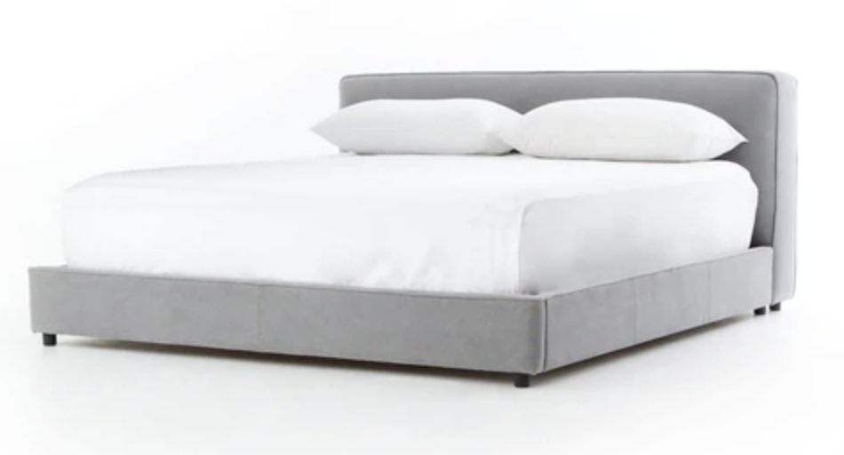 Low-Profile Grey Platform Bed