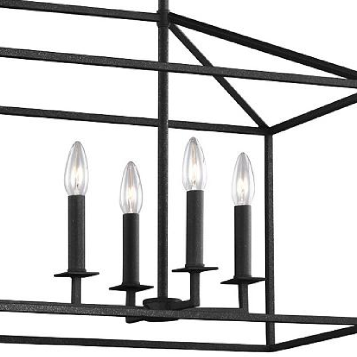 8-Light Black Linear Dining Room Chandelier