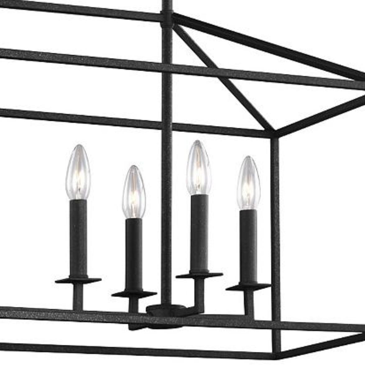 8-Light Black Linear Dining Room Chandelier