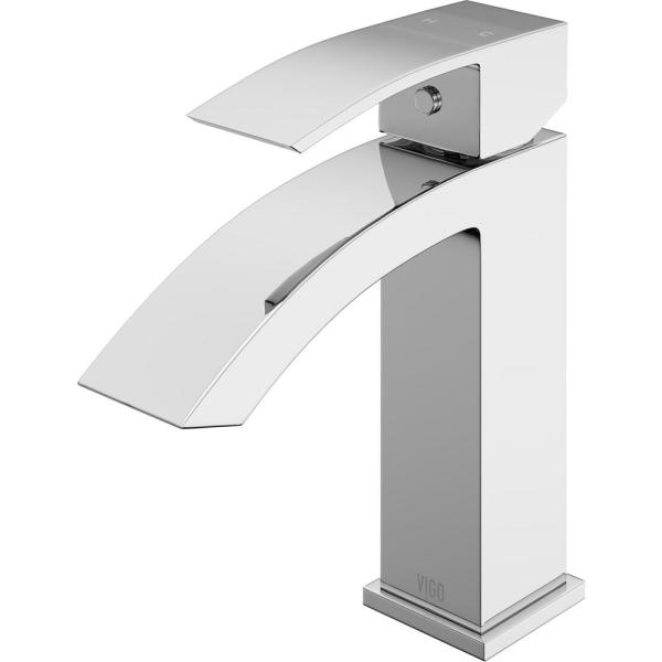 Amazon VIGO VG01015CH Satro Modern Bathroom Faucet, Single-Hole Deck-Mount Lavatory Faucet with Plated Seven Layer Polished Chrome Finish