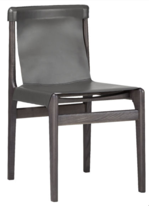 CB2 BURANO CHARCOAL GREY LEATHER SLING CHAIR