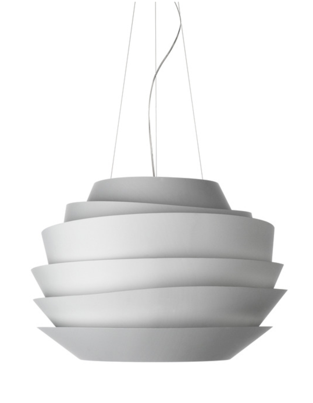 This spherical pendant is made of white bands that diffuse the light and create a soft, dimensional glow. Light is also projected directly upward and downward to dramatically highlight the space, making it the perfect welcoming statement piece. Interior wall and ceiling color is Sherwin Williams Repose Gray SW 7015. The trim is bright white. #SherwinWilliamsReposeGrayInteriorWalls #ReposeGraySW7015 #interiorpaintcolor #lightgrayinteriorpaintcolors