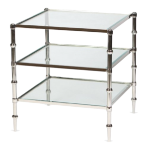 One Kings Lane Kayley 3-Shelf Side Table, Nickel