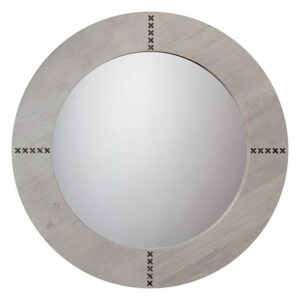 """Lamps Plus Owen Gray Washed Wood 36"""" Round Mirror"""