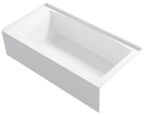 Home Depot Elmbrook 60 in. Right Drain Rectangular Alcove Bathtub with Integral Apron in White by KOHLER