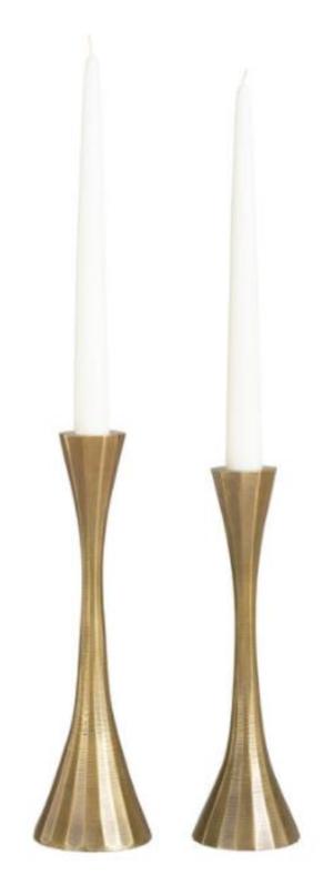 World Market Antique Gold Ribbed Taper Candleholder