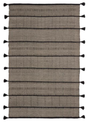 World Market Ivory And Black Geometric Reversible Ash Indoor Outdoor Rug