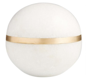 World Market Marble Sphere With Brass Inlay Decor
