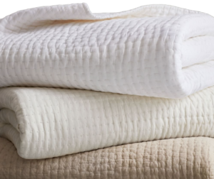 Pottery Barn Pick-Stitch Handcrafted Cotton:Linen Quilt