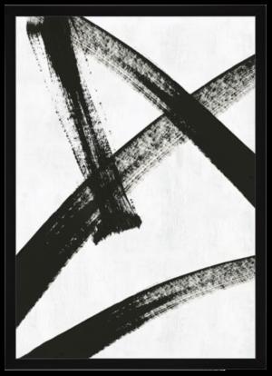 West Elm Abstract Ink Brush Framed Wall Art – Black & White – Running Man