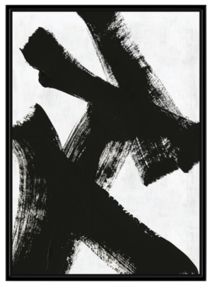West Elm Abstract Ink Brush Framed Wall Art – Black & White – double x
