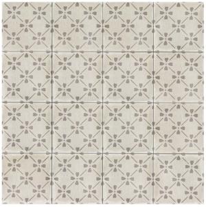 Bedrosians Palazzo 12″ x 12″ Decorative Tile in Vintage Grey Bloom